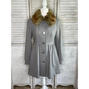 H&M Wool Coat Gray w/ Removable Faux Fur Collar